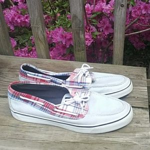 Sperry Top Sider Boat Shoes Plaid Red White& Blue